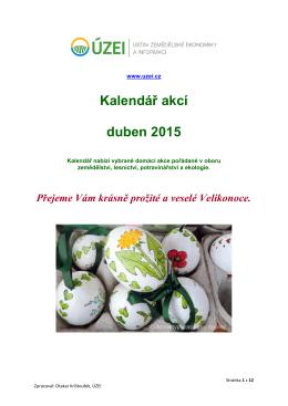 Kalendář akcí duben 2015