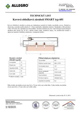Kovová obložková zárubeň SMART typ 601