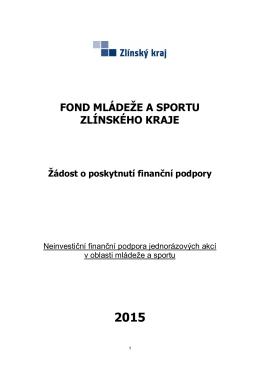 Žádost z Fondu mládeže a sportu ZK_jednorázové akce 2015