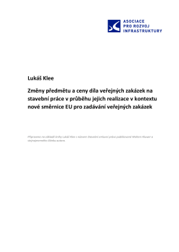 Lukáš Klee Změny předmětu a ceny díla veřejných zakázek na
