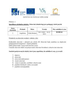 Příloha č. 1 Specifikace předmětu zakázky: Stínování (shadowing