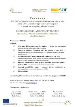9.4.2015 pozvánka na seminář POUČENÍ O
