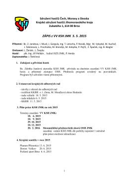 Zápis ze zasedání VV KSH JMK ze dne 5. 5. 2015