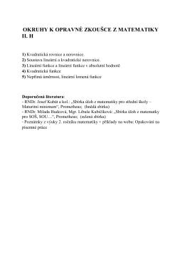 OKRUHY K OPRAVNÉ ZKOUŠCE Z MATEMATIKY II. H