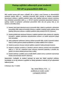 Postup zajištění odborných praxí na pracovištích AGEL a.s.