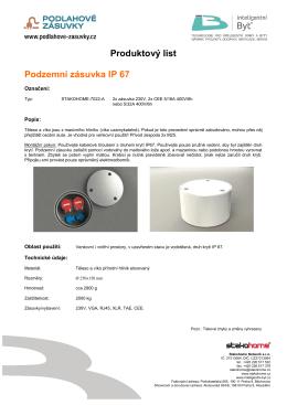 Produktový list Podzemní zásuvka IP 67