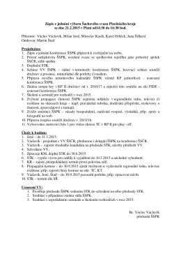 Zápis z jednání výboru Šachového svazu Plzeňského kraje
