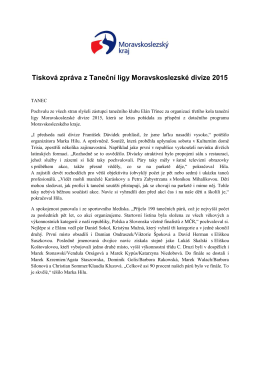 Tisková zpráva z Taneční ligy Moravskoslezské divize