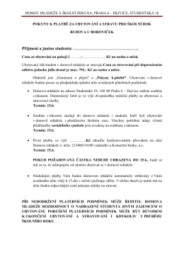 Pokyny k platbám pro budovu DM U Boroviček 2015-2016