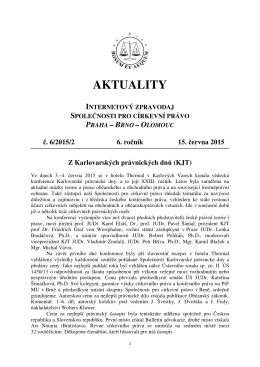 Aktuality č. 6/2015/2 - Společnost pro církevní právo