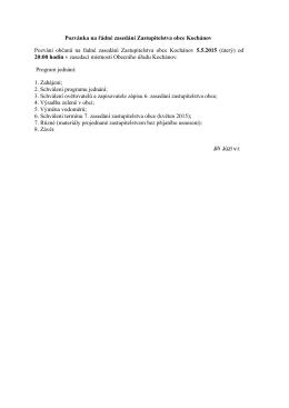 Pozvánka na řádné zasedání Zastupitelstva obce Kochánov 5.5.2015