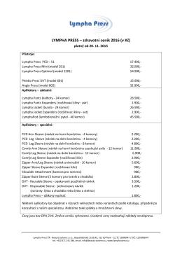 LYMPHA PRESS – zdravotní ceník 2016 (v Kč)
