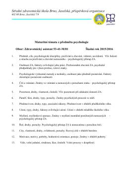 Maturitní témata z předmětu Psychologie 2015/2016