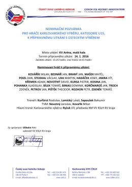 Nominace k přípravnému utkání s Ústeckým krajem 14. 1. 2016