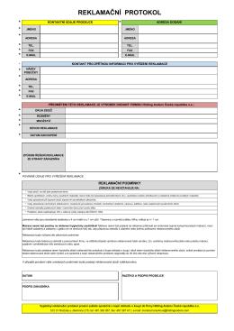 Reklamační protokol PDF CZ