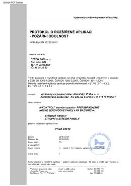 protokol o rozšířené aplikaci - poţární odolnost