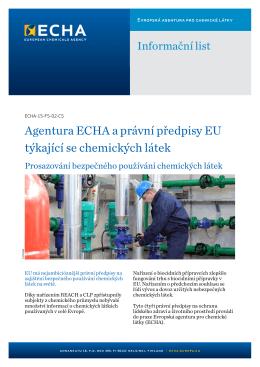 Agentura ECHA a právní předpisy EU týkající se