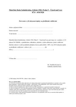Mateřská škola Sedmikráska, Lišická 1502, Praha 9 – Újezd nad