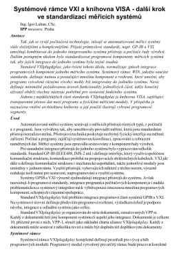 Systémové rámce VXI a knihovna VISA