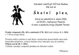 Školní ples 2016 6. 2. 2016