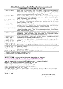 Orientační plán přednášek z předmětu T1AC Obecná a anorganická
