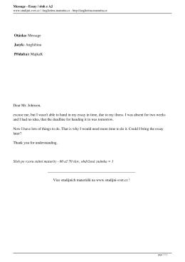 Message - Essay / sloh z AJ - Anglictina