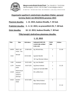 (řádné, opravné termíny školní rok 2014/2015)