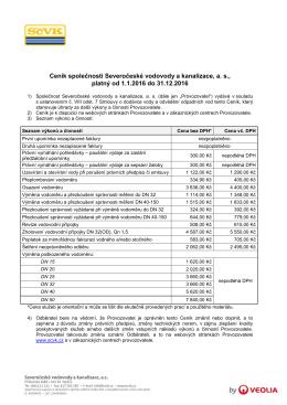 Ceník pro odběratele 2016 - Severočeské vodovody a kanalizace, as