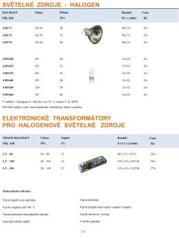 Halogenové zdroje a transformátory