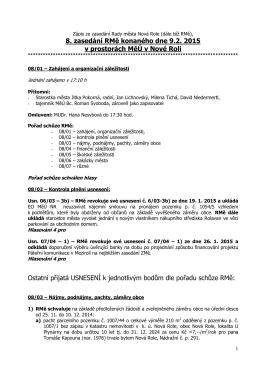Zápis z 8. jednání rady města