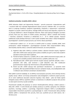 Anotace habilitační přednášky PhDr. Radek Ptáček, Ph.D. 1 PhDr