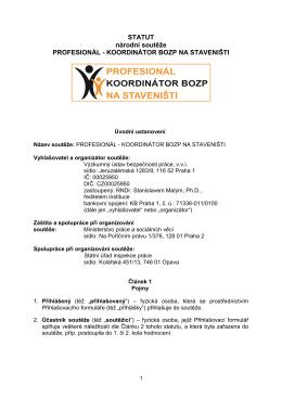 STATUT národní soutěže PROFESIONÁL