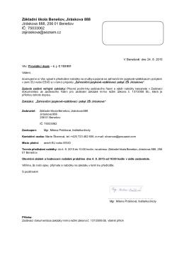Základní škola Benešov, Jiráskova 888 Jiráskova 888, 256 01