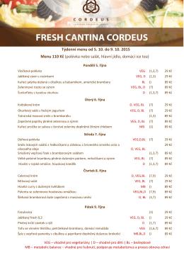 Týdenní menu od 5. 10. do 9. 10. 2015 Menu 110 Kč