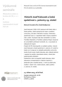 Historik Josef Kalousek a česká společnost 2. poloviny 19. století.