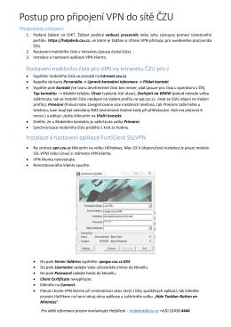 Postup pro připojení VPN do sítě ČZU