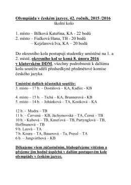 Olympiáda v českém jazyce, 42. ročník, 2015 /2016 školní kolo 1