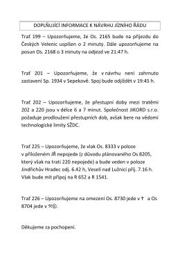 POZOR doplňující informace k návrhu GVD