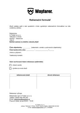 Reklamační formulář - X