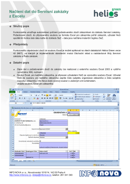 InfoNova HeliosGreen – Nacteni dat do Servisni zakazky z Excelu