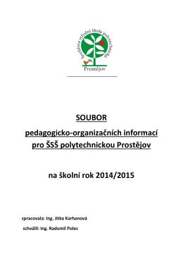 SOUBOR pedagogicko-organizačních informací pro ŠSŠ