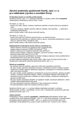Záruční podmínky společnosti Somfy, spol. s r.o. pro odběratele