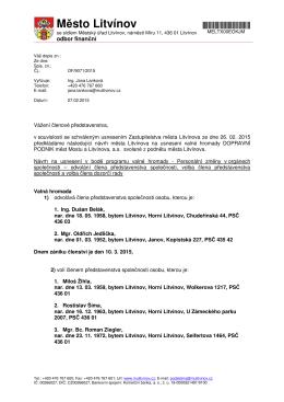 Žádost akcionáře - Město Litvínov v PDF
