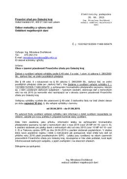 Finanční úřad pro Ústecký kraj Odbor metodiky a výkonu daní
