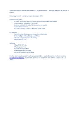Společnost SANSIMON hledá pracovníka OZP na pracovní pozici