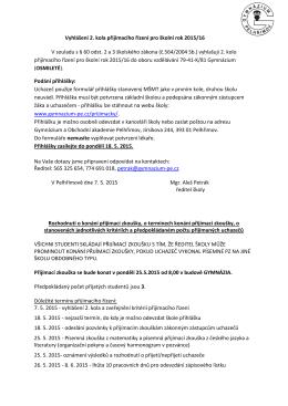Vyhlášení 2. kola přijímacího řízení pro školní rok 2015/16 V souladu
