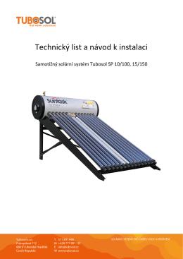 Tlakové samotížné solární systémy Tubosol SP