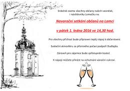 Novoroční setkání občanů na Lomci v pátek 1. ledna 2016 ve 14,30