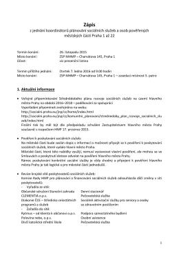 Zápisy rok 2015 - Portál pro sociální oblast města Prahy