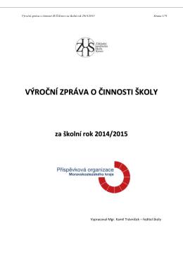 Výroční zpráva ZUŠ Krnov za školní rok 2014/2015